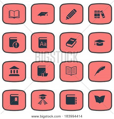 Vector Illustration Set Of Simple Reading Icons. Elements Academic Cap, Library, Reading And Other Synonyms Bookshelf, Writing And Plume.