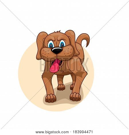 painted brown dog with his tongue hanging out and angry eyes