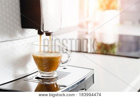 Professional Home Coffee Maker Machine Making Espresso