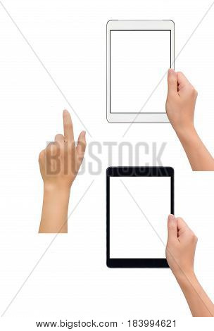 Close-up image of two human hand holding black and white blank screen tablet with hand in touching gesture isolate on white background with clipping path