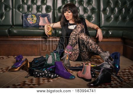 Fashion Garter Tights Woman On The Floor Enjoying In Shoes