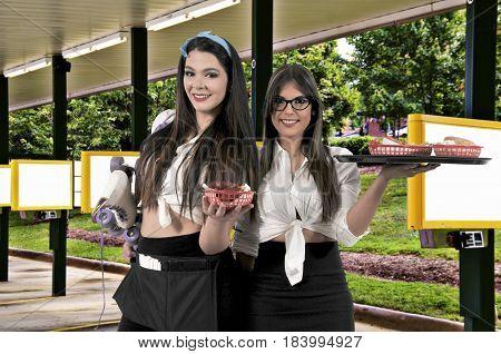 Women food service worker servers or waitresses