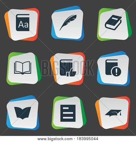 Vector Illustration Set Of Simple Knowledge Icons. Elements Important Reading, Alphabet, Plume And Other Synonyms Hat, Important And Plume.