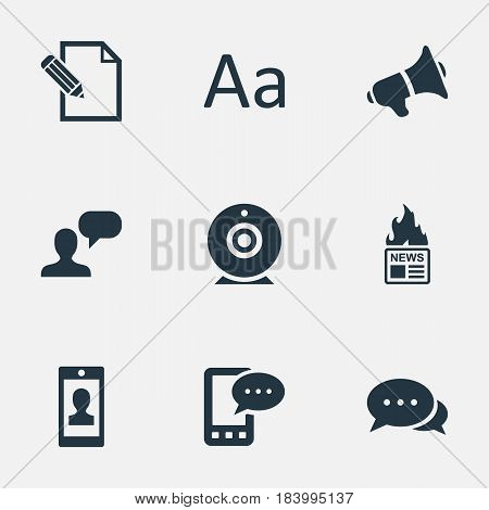 Vector Illustration Set Of Simple Blogging Icons. Elements Profile, Man Considering, Loudspeaker And Other Synonyms Considering, Man And Alphabet.