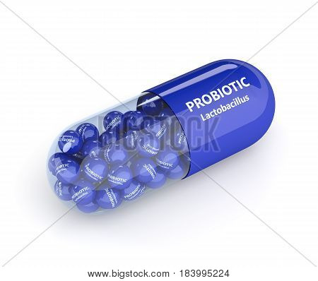 3D Render Of Probiotic Pill With Granules Over White