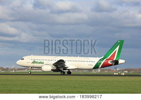 Amsterdam the Netherlands - April 7th 2017: EI-DSL Alitalia Airbus A320 takeoff from Polderbaan runway Amsterdam Airport Schiphol
