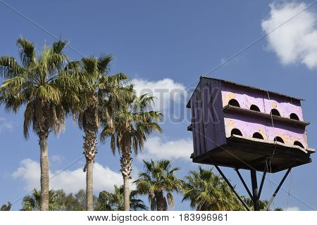 Birdhouse in pink with sixteen apartments against blue sky picture from the North of Cyprus.