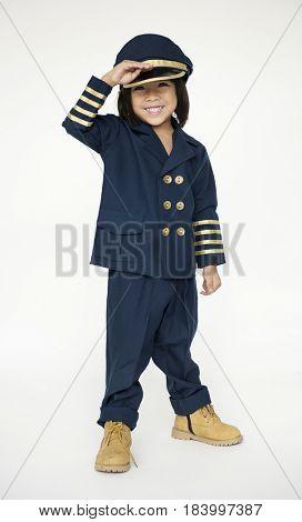 Schoolboy with pilot uniform for dream occupation
