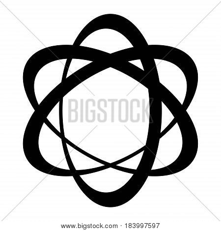 orbit logo, three elipse with a displaced center, the vector of the orbit of electrons around the nucleus concept of the molecule