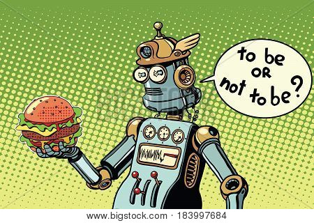 Robot hamburger fast food. to be or not to be a scene from Shakespeare. Pop art retro vector illustration