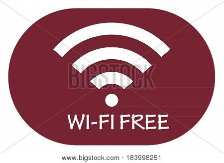 free wi-fi point icon on red background .