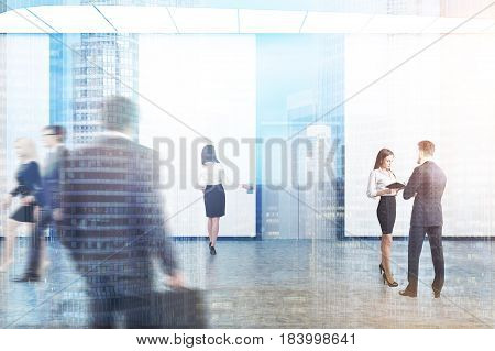 Business people are walking in an elevator hall with white walls concrete floor and two elevators with gray doors. 3d rendering toned image double exposure