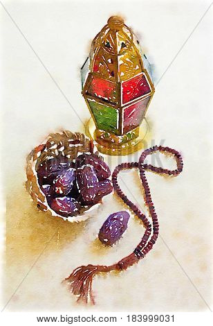 Ramadan lamp and prayer beads classic still life in water color. Arabian festive art background.