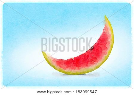 A slice of watermelon in a shape of moon. Water color illustration drawing.