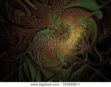 An abstract computer generated modern fractal design on dark background. Abstract fractal color texture. Digital art. Abstract Form & Colors. Soft colourful abstract background with soft brown shade with oil color techniques.