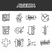 Mathematical science. Algebra. Calculus. Geometry. Exact sciences. Education and scientific icons set. Vector design concept poster