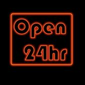 Glowing neon open sign welcoming in customers poster