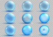 Set of transparent and opaque light blue spheres with shadows and glares on transparent background. Transparency only in vector file poster