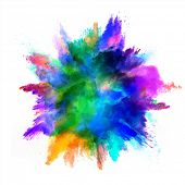 Explosion of colored powder, isolated on white background. Power and art concept, abstract blast of colors. poster