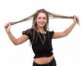 Portrait of young smiling woman with dreadlocks, isolated on white background poster