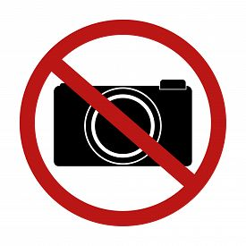 No camera and no photo sign red prohibition in restric area isolated on white background. Vector illustration prohibited circle design.