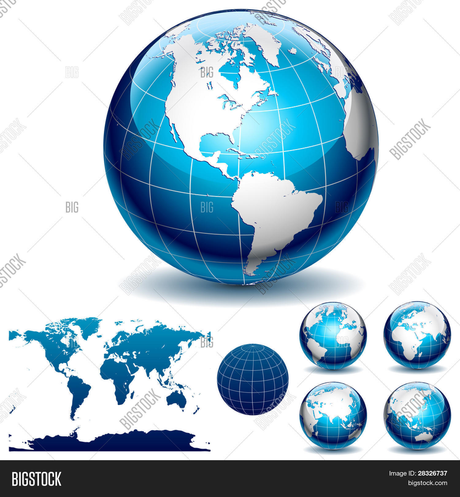 Globe detail map world different vector photo bigstock globe and detail map of the world different views vector illustration gumiabroncs Image collections