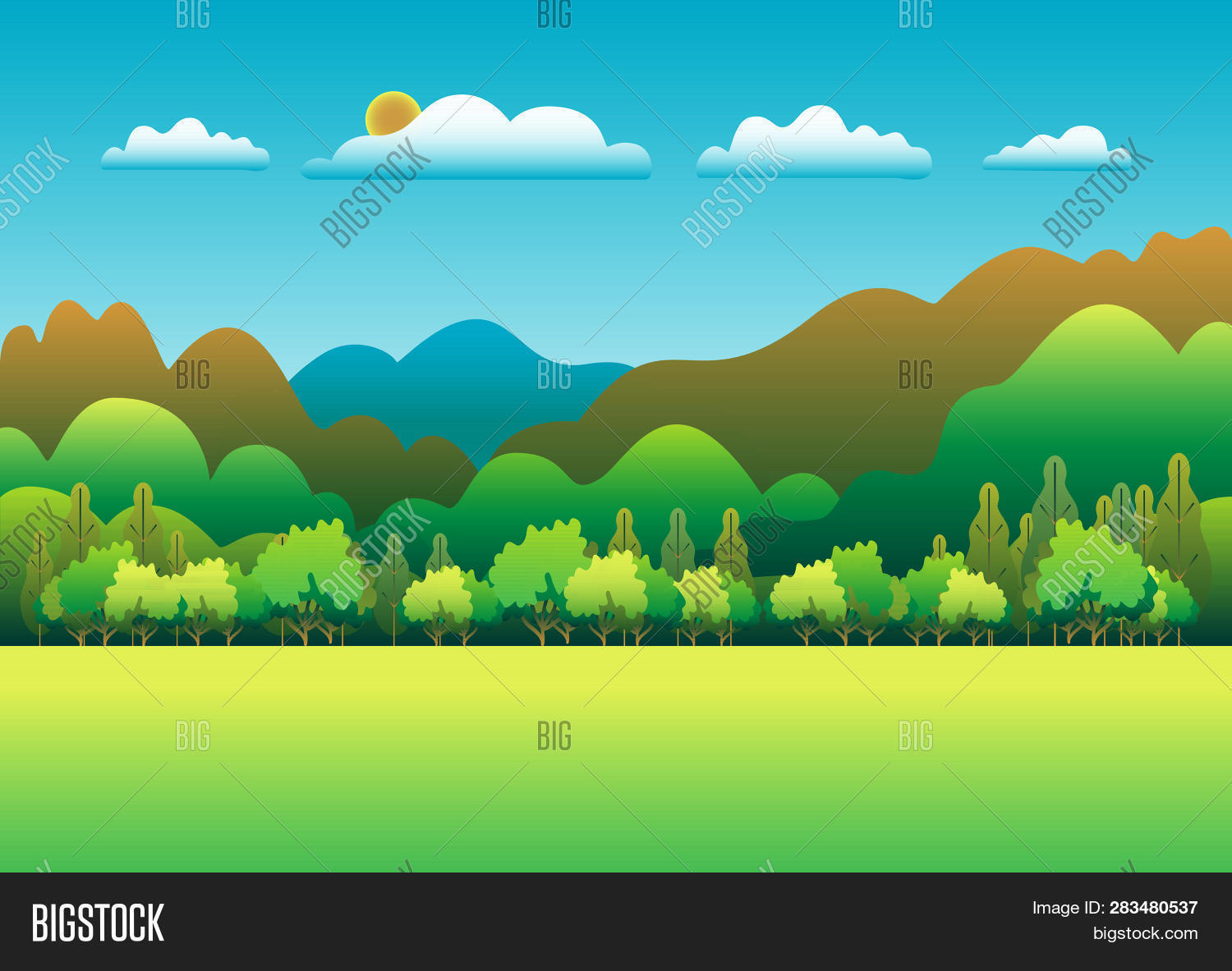 Hills Mountains Vector Photo Free Trial Bigstock