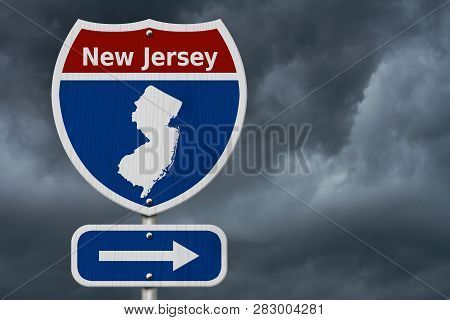 Road Trip To New Jersey, Red, White And Blue Interstate Highway Road Sign With Word New Jersey And M