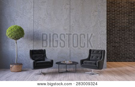 Modern Loft Interior With Furniture Lounge Chairs, Plant, Table, Architecture Concrete Cement Wall P