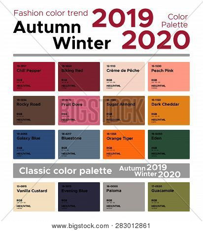 Fashion Color Trend Autumn Winter 2019-2020 And Classic Color Palette. Palette Fashion Colors With N