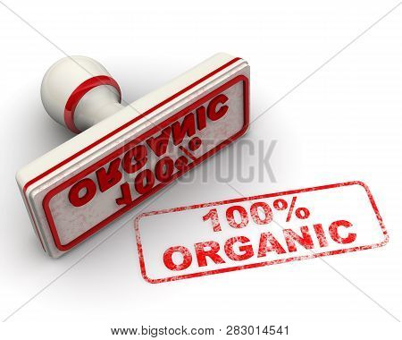 100% Organic. Seal And Imprint. Red Stamp And Imprint 100% Organic On White Surface. Isolated. 3d Il