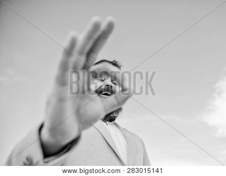 Man Bearded Businessman Formal Suit Watching Through Fingers. I Am Watching You. Perfect Gesture. Gu
