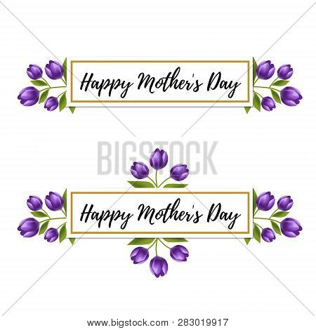 Floral Design. Happy Mother Day Violet Tulip Flower Ornament For Card, Invitation. 8 March Card. Rea