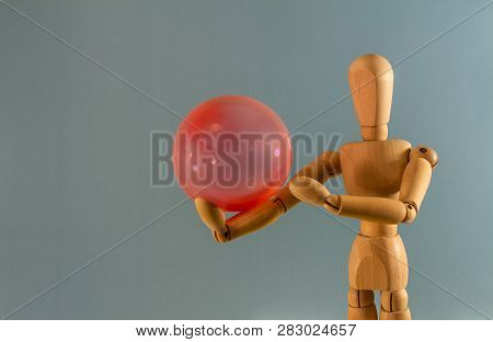 Wooden Doll As A Model For Drawing On A Neutral Background. Concept Of Playing In Solitude, Bulling,