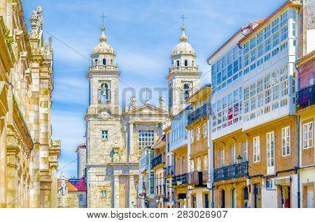 Church In Santiago De Compostela, Galicia, Northern Spain, Colorful Illustration