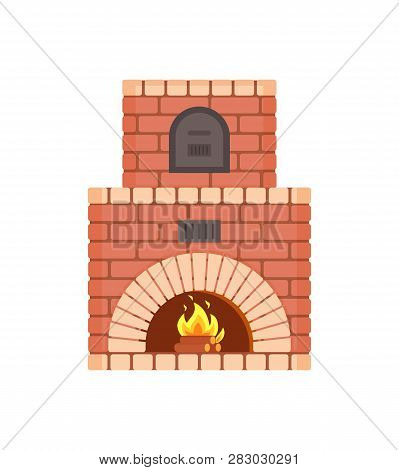 Fireplace With Fire Burning Inside Isolated Icon Vector. Decoration Of Home Interior And Furniture H