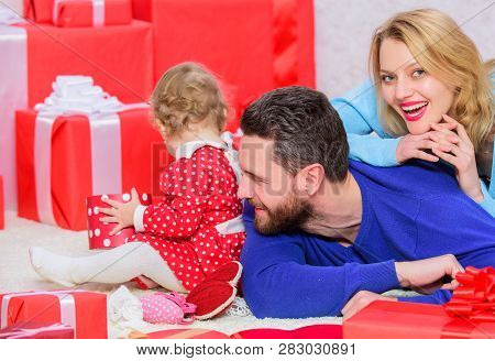 Lovely Family Celebrate Valentines Day. Happy Parents. Couple In Love And Baby Are Happy Family. Mad