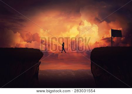 Surreal Challenge Overcome As Woman Cross Chasm Conquering Obstacle Balancing On Slackline Rope Abov