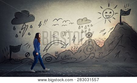 Woman Starting A Life Quest With Obstacles. Self Overcome Imaginary Climbing Mountain With Ups And D