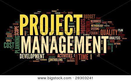 Projekt Management-Konzept in Wort Tag-Wolke auf schwarzem Hintergrund