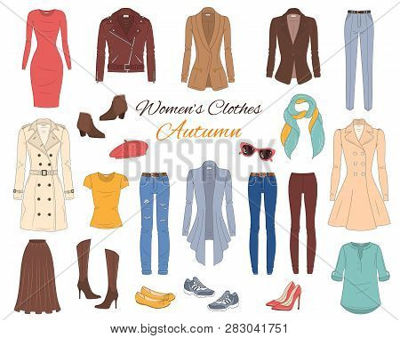 Female Fashion Set. Women Clothes Collection. Autumn Outfit Trench Coat, Leather Jacket, Cardigan, D