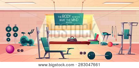 Sport Club Gym Spacious Interior Cartoon Vector With Various Fitness Equipment And Machines For Body