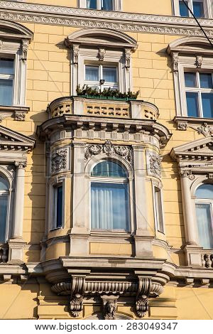 Detail Of The Beautiful Architecture Of The Antique Buildings At Linke Wienzeile In Vienna City Cent