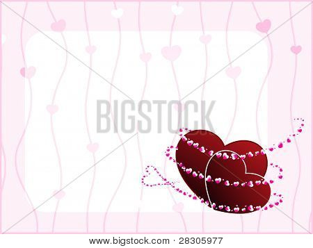 Vector illustration of a template design greeting card having two heart shapes on floral design background for Valentine Day.