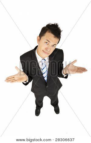 asian businessman shrugging