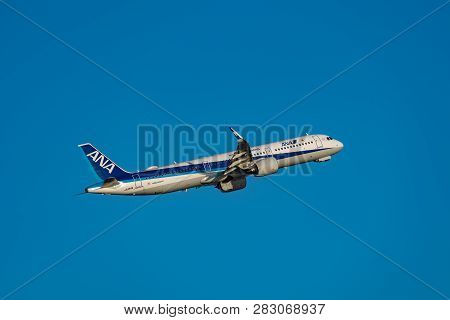 Tokyo, Japan - Feb.2, 2019: Airbus A321-200 (a321 Ceo) Taking Off From The Haneda International Airp
