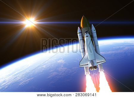 Space Shuttle In The Rays Of Sun. 3d Illustration.