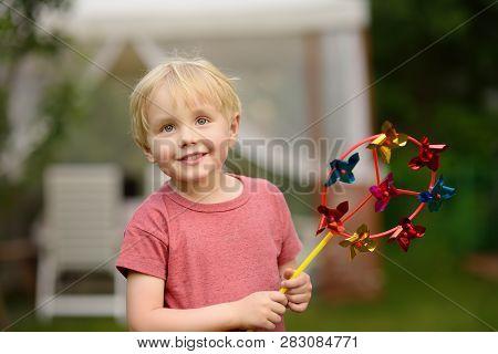 Little Boy Having Fun During Walk. Happy Child With Pinwheel. Preschoolers Or Toddlers Birthday Part