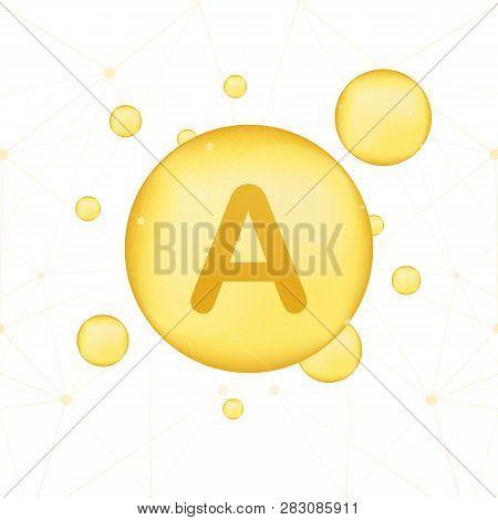 Vitamin A gold shining icon. Ascorbic acid. Vector stock illustration poster