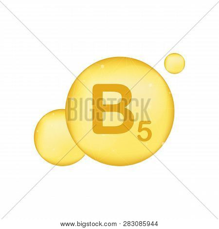 Vitamin B 5 gold shining icon. Ascorbic acid. Vector stock illustration poster